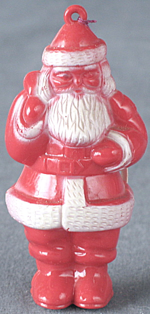 Vintage Red Hard Plastic Santa Claus Christmas Ornament