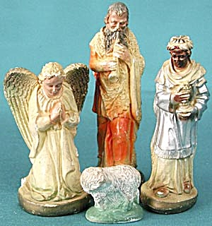 Vintage Nativity Plaster Lamb Angel and Others (Image1)