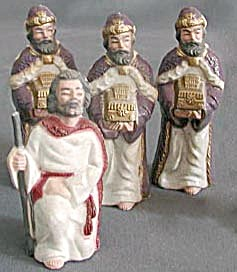 Vintage Christmas Nativity 3 Kings & a Shepherd (Image1)