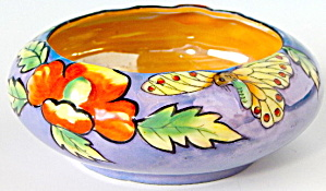 Vintage Luster Raised Butterfly Fancy Bowl