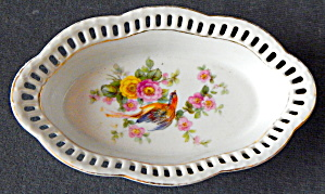 Bavarian China Oval Bowl Pierced Scalloped Rim