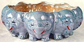 Vintage Large Blue & Gold Luster Elephant Bowl (Image1)