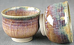 Iridescent Pottery Bowls Set Of 2