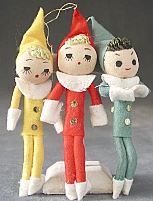 Vintage Pixies Christmas Ornaments Set of 3 (Image1)