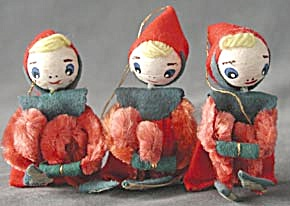 Vintage Chenille Elves Set Of 3 Ornaments