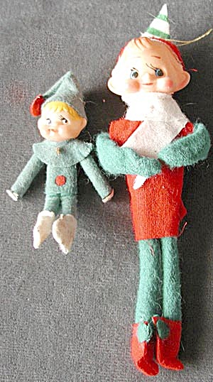 Vintage Elf Christmas Ornaments Set Of 2