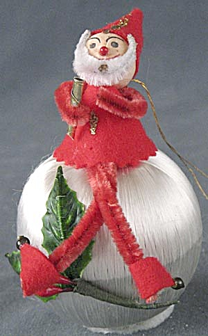 Vintage Pixie/Elf on Satin Ball Christmas Ornament (Image1)