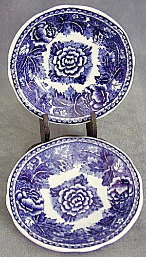 Vintage Arabia Cobalt and White Flower Butter Pats (Image1)