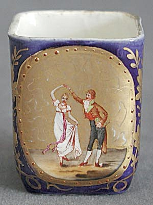 Vintage Tiny Square Cup with Gold and Dancing Couple (Image1)
