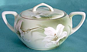 R S Germany White Lily Biscuit Or Cracker Jar