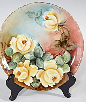 Hand Painted Large Yellow Roses Plate