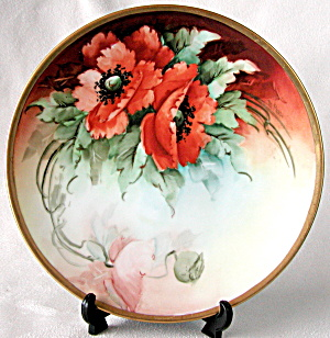 Vintage Hand Painted And Signed Poppy Plate