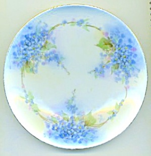 Vintage  forget Me Not Hand Painted Porcelain Plate