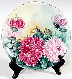 Hand Painted Large Chrysanthemum Flowers Plate