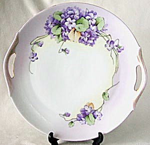 Porcelain Hand Painted Signed Handle Violet Cake Plate
