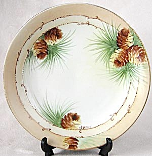 Vintage B & C France Hand Painted Pinecone Plate