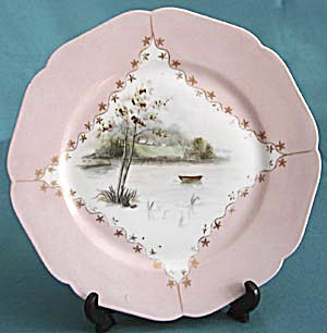 Antique H & Co.limoges Hand Painted Water Scene Plate