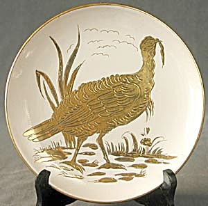 Vintage White & Gold Turkey Plate