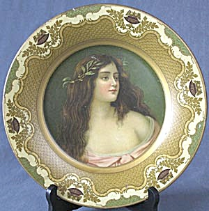 Antique Tin Art Plate Of Beautiful Woman