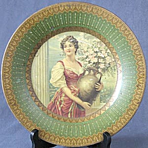 Antique Royal Saxony Art Tin Plate Woman And Vase