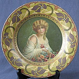 Antique Royal Saxony Art Tin Plate Woman With Roses