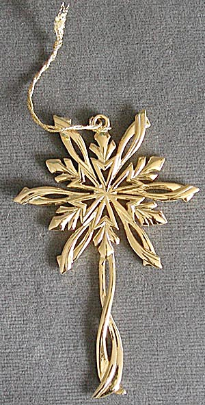 Shiny Gold Snowflake Christmas Ornament