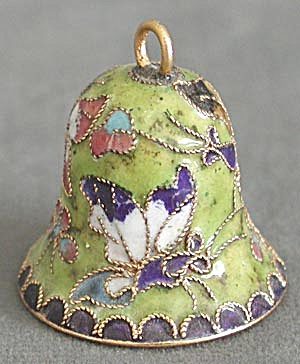 Small Enamel Butterfly Bell Christmas Ornament (Image1)