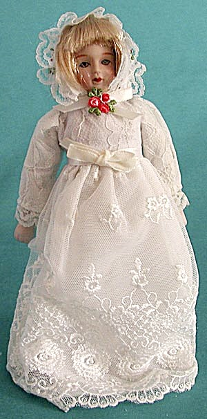 Vintage Porcelain Girl in Lace Gown Christmas Ornament (Image1)