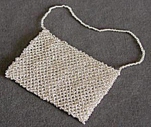 Silver Beaded Purse Christmas Ornament (Image1)
