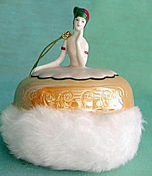 Art Deco Look Luster Lady Powder Puff Ornament