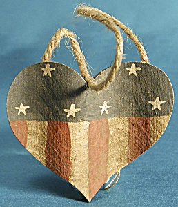 Pair Wooden Heart Christmas Ornaments