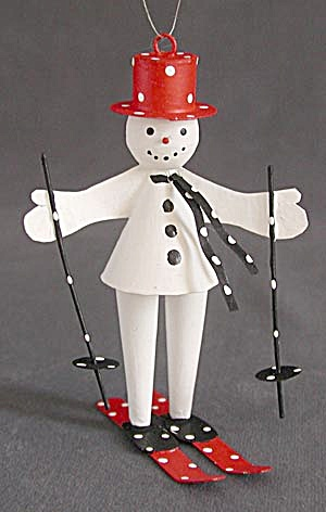 Metal Snowman Skiers Christmas Ornaments Pair (Image1)