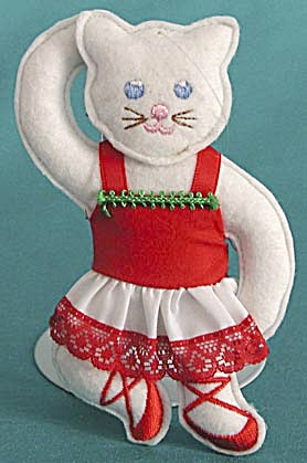 Pair of Felt Ballerina Kitty Christmas Ornaments (Image1)