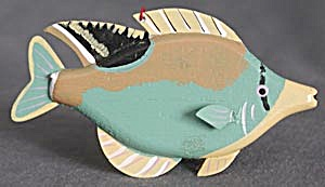 Vintage Wood Fish Christmas Ornament (Image1)