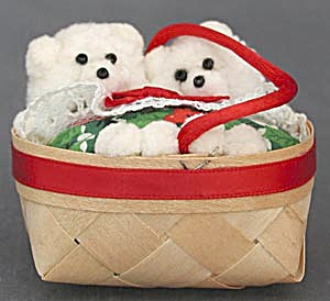 Vintage Basket with 2 White Bears Christmas Ornament (Image1)