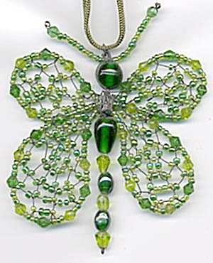 Green Glass Beaded Butterfly  Christmas Ornament (Image1)