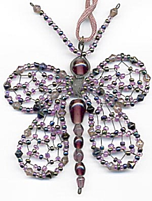 Purple Glass Beaded Butterfly Christmas Ornament (Image1)