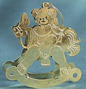 Teddy Bear on Rocking Horse Brass Christmas Ornament (Image1)