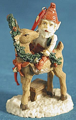 Elf Riding Reindeer Christmas Ornament (Image1)