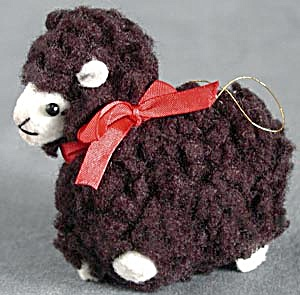 Black Wooly Lamb Christmas Ornament (Image1)