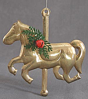 Vintage Brass Carrousel Horse Christmas Ornaments (Image1)