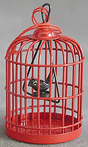 Red Metal Bird Cage with Bird Christmas Ornament (Image1)