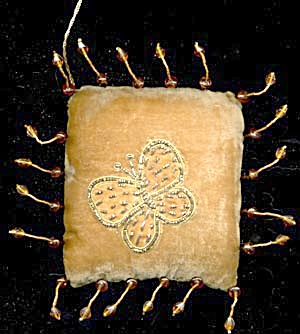 Velvet Embroidered Butterfly Pillow Ornament (Image1)
