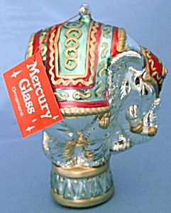 Large Mercury Glass Elephant Christmas Ornament (Image1)