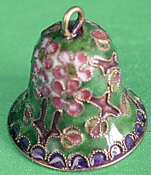 Cloisonne Bell Pink Flower Christmas Ornament (Image1)