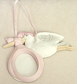 Stork Picture Frame Christmas Ornament (Image1)