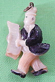 Vintage Celluloid Man Reading News Paper Charm
