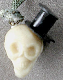 Vintage Celluloid Skull With Top Hat Charm