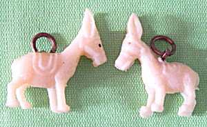 Vintage Celluloid Donkey Charms Set Of 2