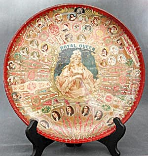 Cigar Band Folk Art Glass Plate (Image1)